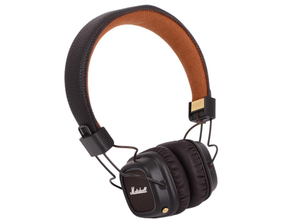 Наушники накладные MARSHALL Major II Bluetooth, коричневые 04091793 10 – 20.000 Гц, 64 Ом, 99 дБ, 40 мм, микрофон, коричневые накладные наушники marshall major ii white