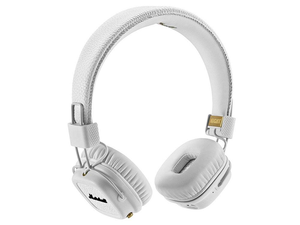 Наушники накладные MARSHALL Major II Bluetooth, ,белые 04091794 10 – 20.000 Гц, 64 Ом, 99 дБ, 40 мм, микрофон, белые marshall major ii
