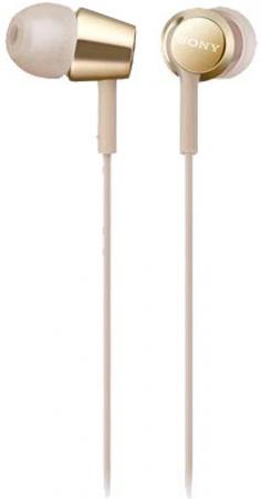 Наушники SONY MDR-EX155 Gold Проводные / Внутриканальные / золотистый / 5 Гц - 24 кГц / 103 дБ / Двухстороннее / Mini-jack / 3.5 мм наушники philips she3555bk 00 черный проводные внутриканальные с микрофоном черный 10 гц 22 кгц 103 дб двухстороннее mini jack 3 5 мм