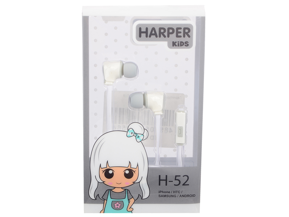 Гарнитура HARPER KIDS H-52 white гарнитура philips she1455 white