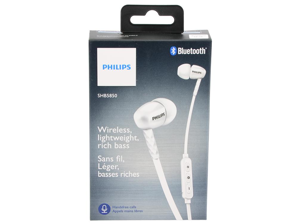 Наушники Philips SHB5850WT/00 Bluetooth белый Беспроводные / Внутриканальные с микрофоном / Белый / 10 Гц - 21 кГц / 107 дБ / Двухстороннее / до 7 ч / Bluetooth внутриканальные наушники campfire audio andromeda green