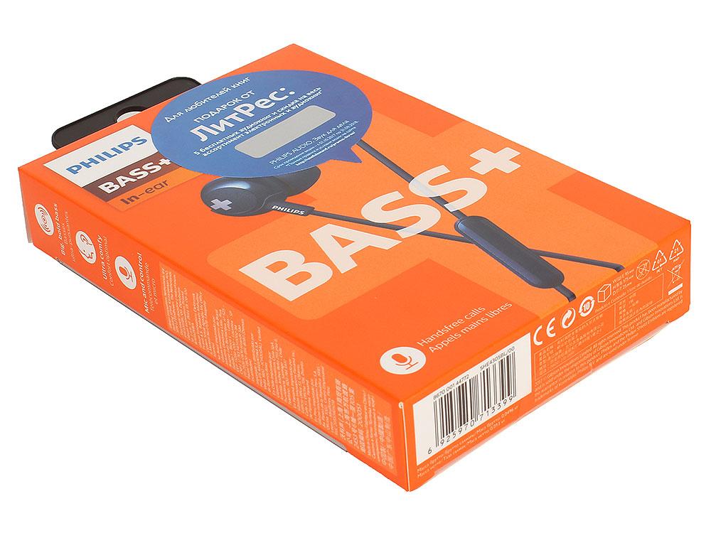 Наушники (гарнитура) Philips SHE4305BL/00 Blue Проводные / Внутриканальные с микрофоном / Синий / 9 Гц - 23 кГц / 107 дБ / Mini-jack / 3.5 мм наушники philips she8100bl 00 blue