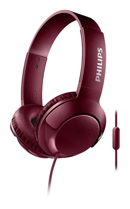 Наушники (гарнитура) Philips SHL3075RD/00 Red Проводные / Накладные с микрофоном / Красный / 9 Гц - 23 кГц / 103 дБ / Mini-jack / 3.5 мм наушники philips shb3075bk 00 черный беспроводные полноразмерные с микрофоном черный 9 гц 21 кгц 103 дб до 12ч bluetooth micro usb