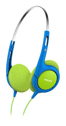 Наушники Philips SHK1030/00 Проводные / Детские / Синий, зеленый / 10 Гц - 24 кГц / 106 дБ / mini jack 3.5 mm наушники с микрофоном philips she3555bk 00