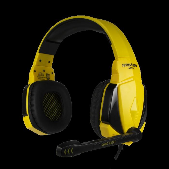 Игровая стереогарнитура Jet.A GHP-100 чёрно-жёлтая (звуковая схема 2.0, ПУ на шнуре, mini jack 3.5мм 4pin + адаптер 2x mini jack 3.5мм 3pin, кабель 2. ghp 206