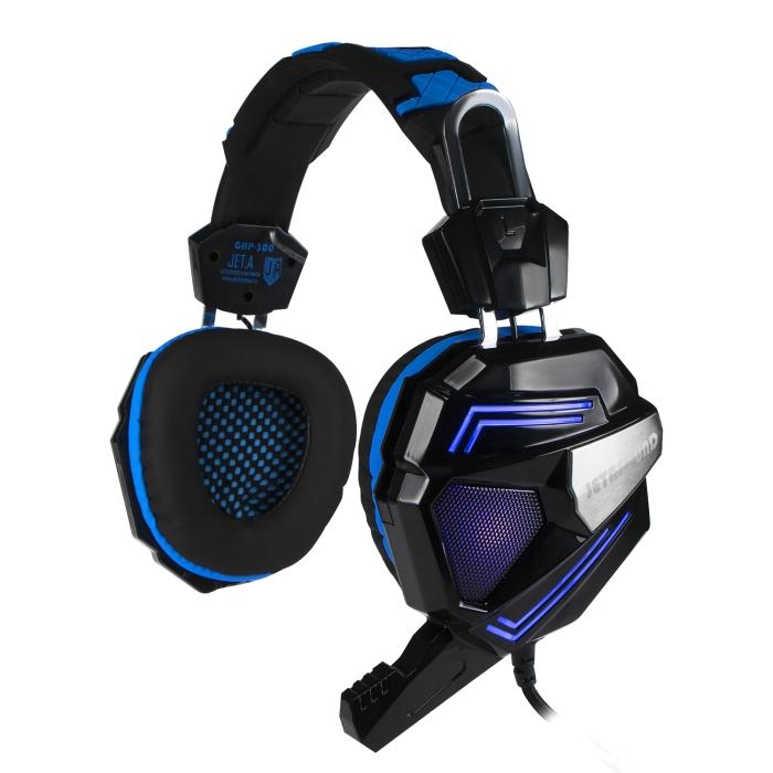 Игровая стереогарнитура с LED-подсветкой Jet.A GHP-300 чёрно-синяя (звуковая схема 2.0, управление на наушнике, 2x mini jack 3.5мм 3pin+USB + адаптер ghp 206
