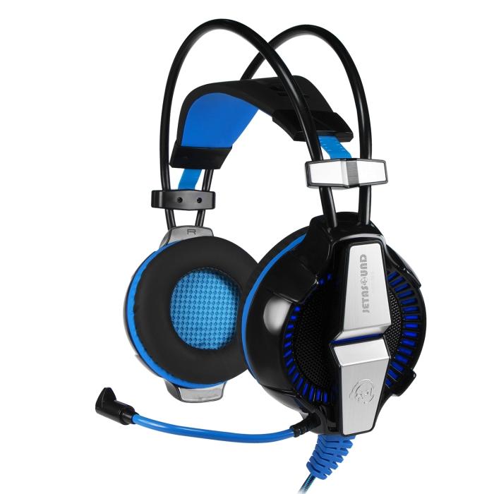 Игровая стереогарнитура с LED-подсветкой Jet.A GHP-400 чёрно-синяя (звуковая схема 2.0, ПУ на шнуре, 2x mini jack 3.5мм 3pin+USB + адаптер mini jack 3 ghp 206