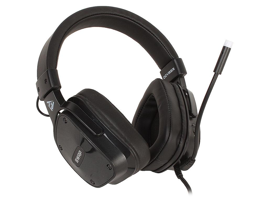 Наушники (гарнитура) QCYBER SWAP Black Проводные / Накладные с микрофоном / Черный / 20 Гц - 20 кГц / 100 дБ / USB гарнитура qcyber swap звук 7 1 usb 3 5 jack