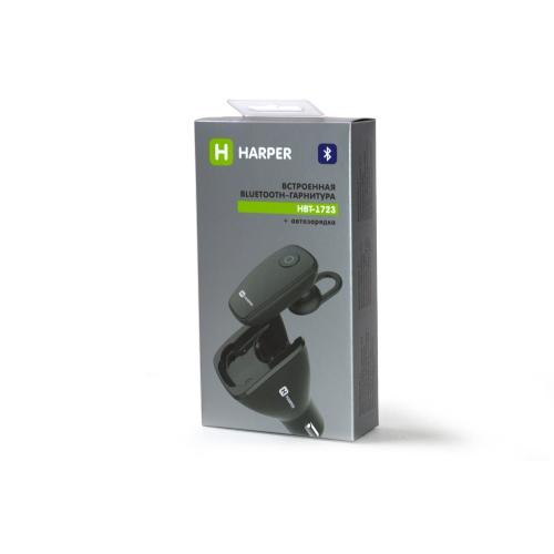 Гарнитура беспроводная плюс автомобильная зарядка HARPER HBT-1723 black гарнитура беспроводная sony sbh70ru b bt3 0