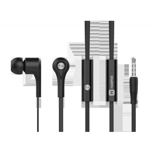 Наушники (гарнитура) HARPER HV-402 Black Проводные / Внутриканальные с микрофоном / Черный / 20 Гц - 20 кГц / 103 дБ / Двухстороннее / Mini-jack / 3.5 мм