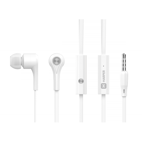 Наушники (гарнитура) HARPER HV-402 White Проводные / Внутриканальные с микрофоном / Белый / 20 Гц - 20 кГц / 103 дБ / Двухстороннее / Mini-jack / 3.5 мм