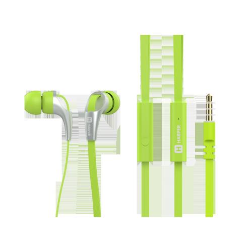 Гарнитура HARPER HV-404 Green Проводные / Внутриканальные с микрофоном / Зеленый / 20 Гц - 20 кГц / 103 дБ / Двухстороннее / Mini-jack / 3.5 мм