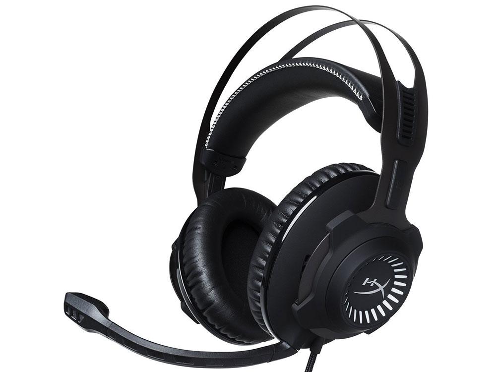 Наушники (гарнитура) HyperX Cloud Revolver S Headset (HX-HSCRS-GM/EM) Проводные / Полноразмерные с микрофоном / Черный / 12 Гц - 28 кГц / 100.5 дБ / Одностороннее / Mini-jack / kingston hyperx cloud revolver black игровая гарнитура