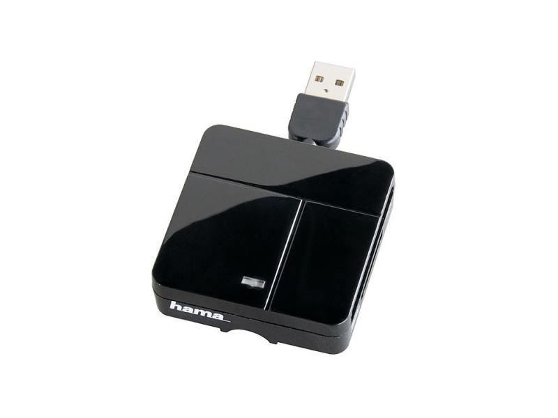 Картридер внешний Hama H-94124 для всех стандартов Basic USB 2.0 поддерживает SDXC черный мышь hama h 53879 roma лазерная беспроводная usb черный [00053879]