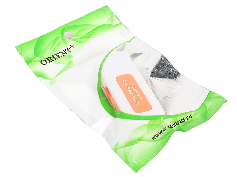 Картридер ORIENT CR-011R, USB 2.0 SDHC/SDXC/microSD/MMC/MS/MS Duo/M2, белый с оранжевым