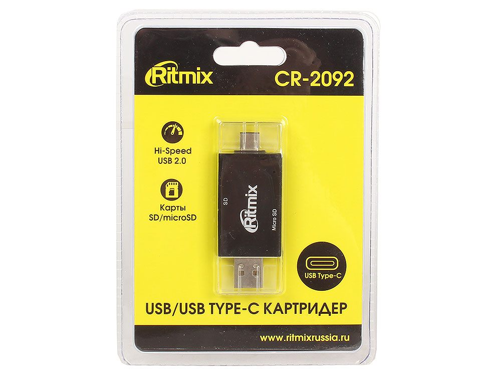 Картридер RITMIX CR-2092 black USB Type-C/USB, SD, microSD, Plug-n-Play mi 305 plug and play mini usb microphone black