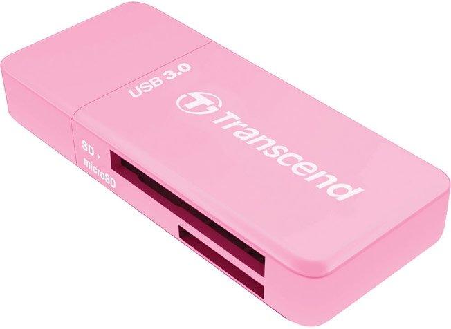 Картридер Transcend RDF5 USB 3.0 для карт памяти SD/microSD с поддержкой UHS-I розовый TS-RDF5R