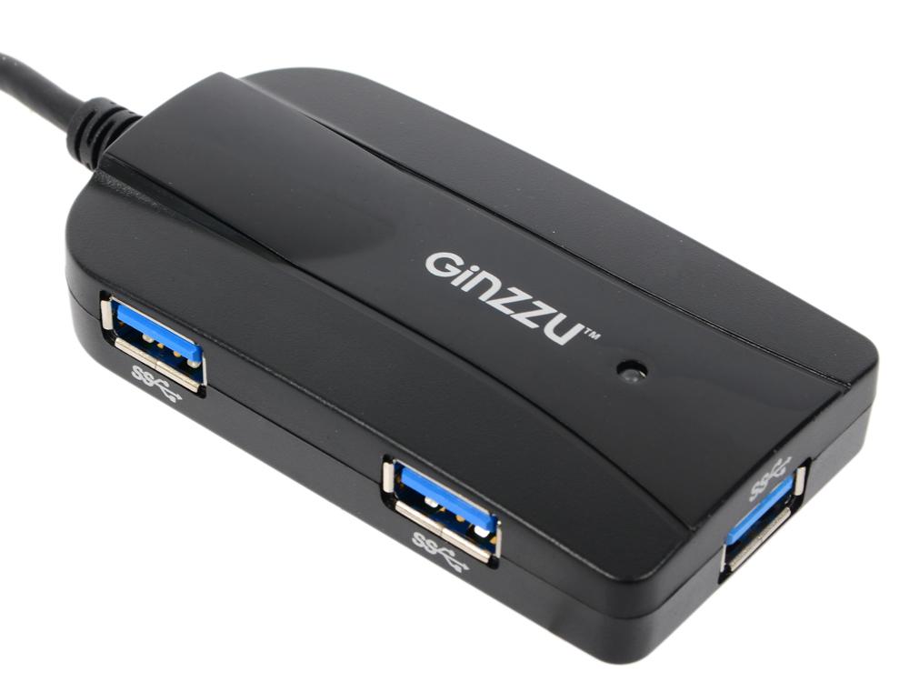 Картридер ginzzu gr-317ub usb 3.0, sd/sdxc/sdhc/mmc и microsd/ microsdxc/ microsdhс + 3-х портовый usb 3.0 концентратор, интерф. кабель 16см, черный