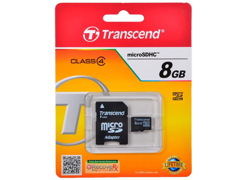 MicroSDHC Transcend  8GB Class 4 + Адаптер (TS8GUSDHC4) toshiba microsdhc 8gb class 4 thn m102k0080m4