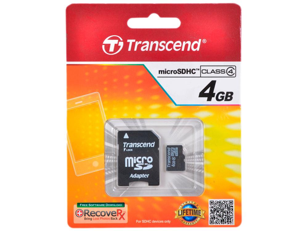 MicroSDHC Transcend  4GB Class 4 + Адаптер (TS4GUSDHC4) microsdhc kingston 4gb class 4 sdc4 4gbsp