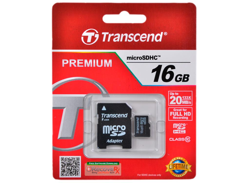 MicroSDHC Transcend 16GB Class10 + Адаптер (TS16GUSDHC10) microsdhc transcend 8gb class10 ts8gusdc10