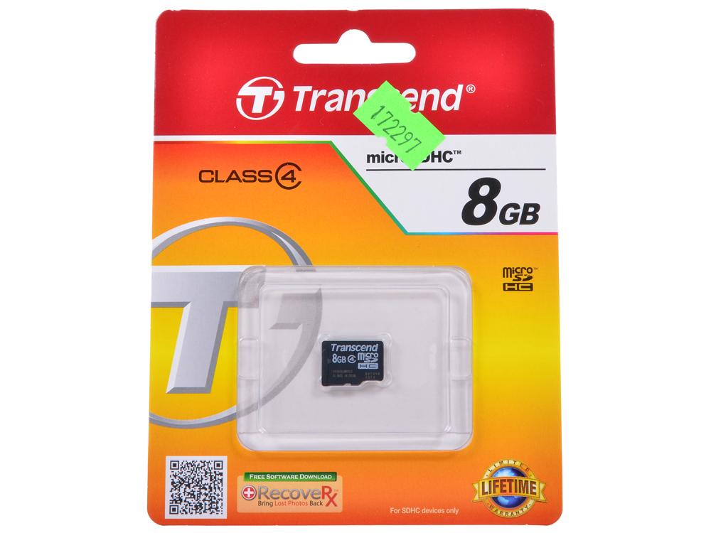 MicroSDHC Transcend  8GB Class 4 (TS8GUSDC4) toshiba microsdhc 8gb class 4 thn m102k0080m4