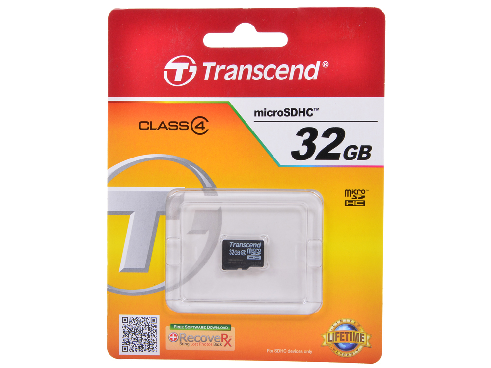 Карта памяти MicroSDHC 32GB Transcend Class4 no Adapter (TS32GUSDC4) карта памяти microsdhc 4gb transcend class10 no adapter ts4gusdc10