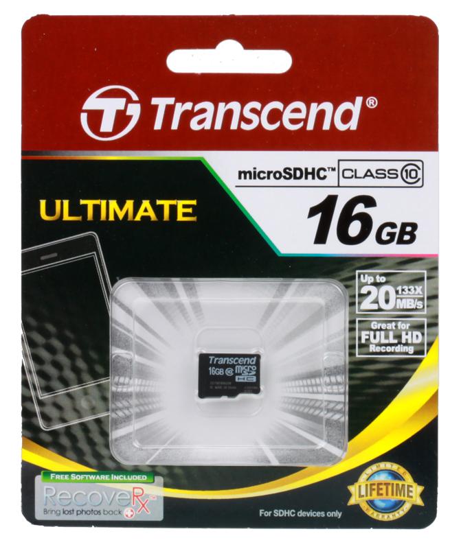 MicroSDHC Transcend 16GB Class10 (TS16GUSDC10)