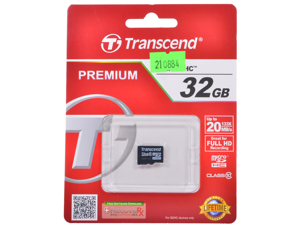 MicroSDHC Transcend 32GB Class10 (TS32GUSDC10) microsdhc transcend 8gb class10 ts8gusdc10