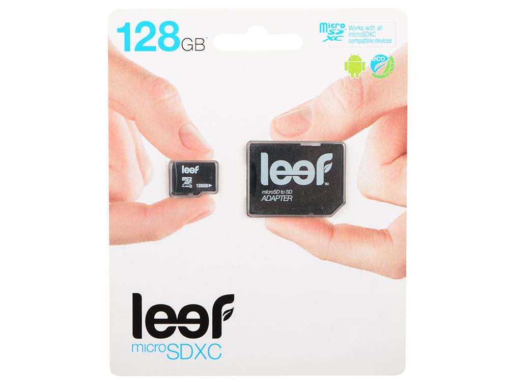 Карта памяти MicroSDHC 128GB Leef Class10 (LMSA0KK128R5) с адаптером карта памяти leef microsdhc class 10 8gb