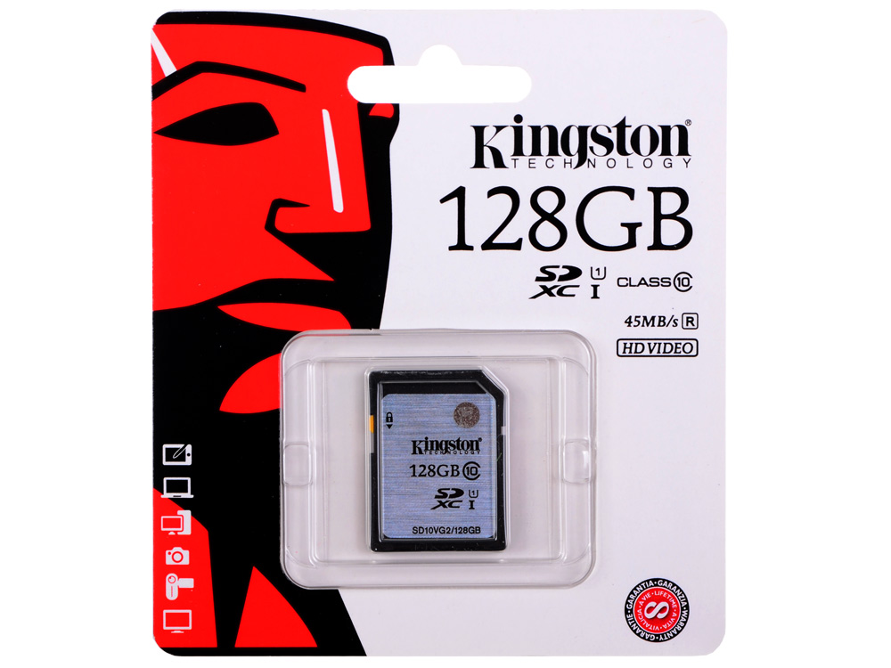 SDXC Kingston 128Gb Class10 G2 Video (SD10VG2/128GB) sdxc kingston 64gb class10 g2 video sd10vg2 64gb