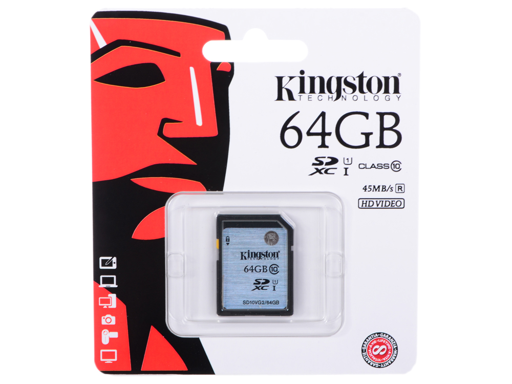 SDXC Kingston 64Gb Class10 G2 Video (SD10VG2/64GB) sdxc kingston 64gb class10 g2 video sd10vg2 64gb