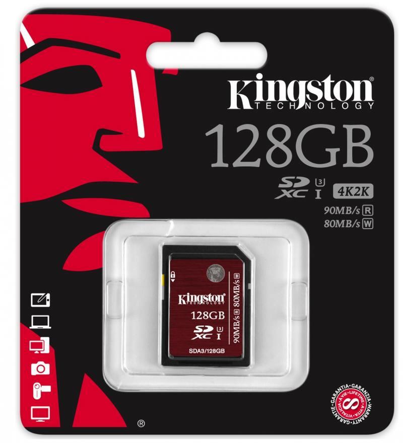 SDXC Kingston 128GB Class10 UHS-I U3 (SDA3/128GB) qumo sdxc class 10 128gb uhs 1