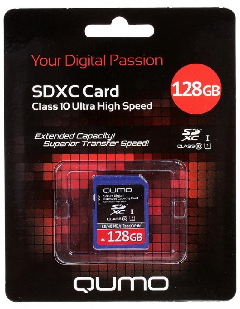 Карта памяти SDXC 128Gb QUMO Class 10 QM128GSDXC10U1 usb flash накопитель 128gb kingston hyperx hxs3 128gb usb3 1 черный