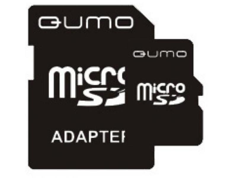 MicroSDHC QUMO  8Gb Class 4 + Адаптер (QM8GMICSDHC4)