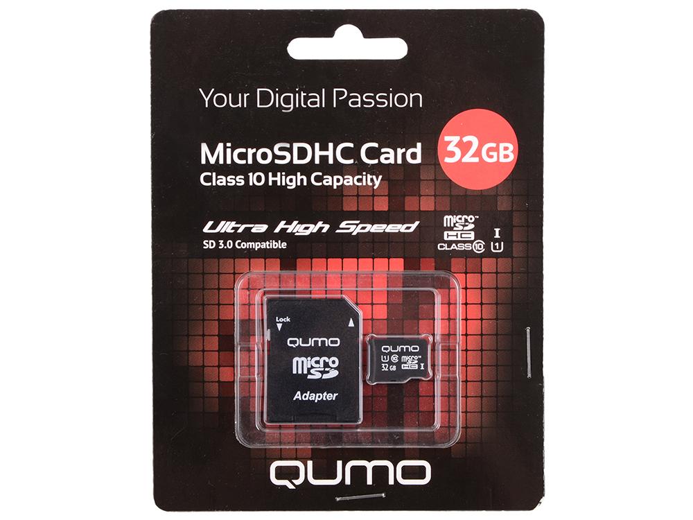 Карта памяти Micro SDHC 32Gb class 10 QUMO QM32GMICSDHC10U1 + SD adapter карта памяти sdhc micro sony sr 32uya