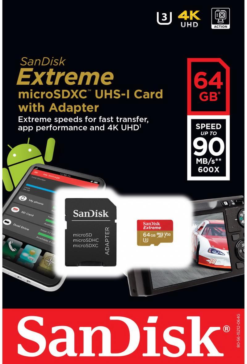 MicroSDXC Sandisk 64Gb Class10 + Адаптер (SDSQXVF-064G-GN6MA)