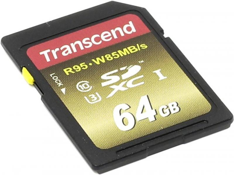 SDXC Transcend 64Gb Class10 UHS-I U3X Ultimate (TS64GSDU3X) transcend microsdxc class 10 uhs i 64gb карта памяти адаптер