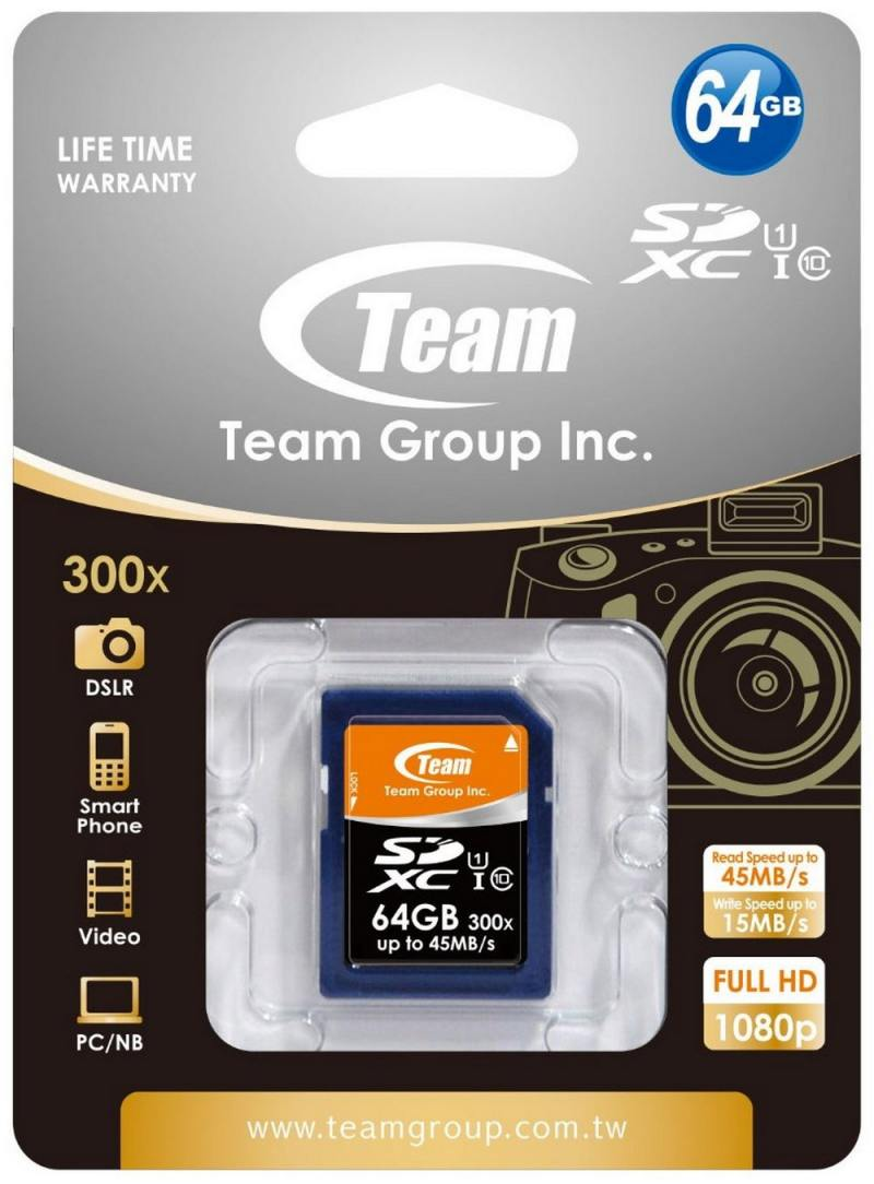 Карта памяти SDXC 64GB class 10 Team TSDXC64GUHS01 карта памяти other jvin 8gtf