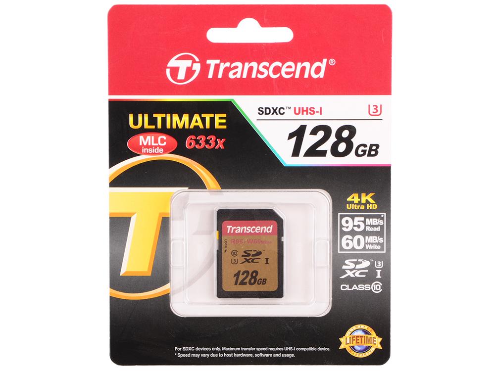 SDXC Transcend 128GB Class10 UHS-I U3 (TS128GSDU3) qumo sdxc class 10 128gb uhs 1