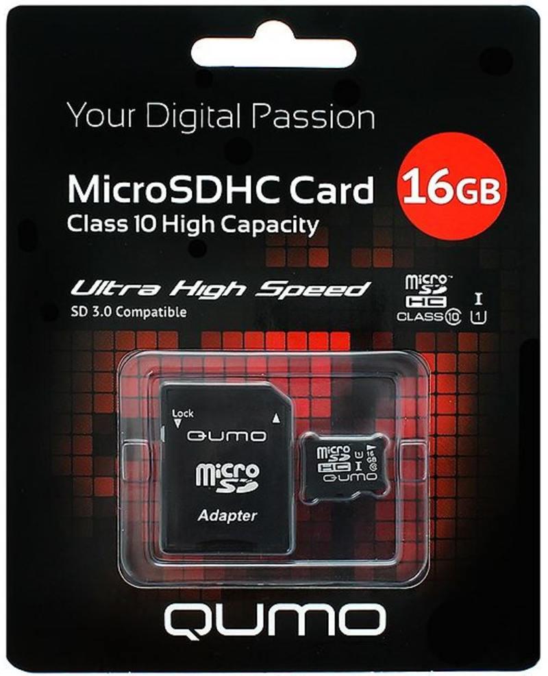Картинка для MicroSDHC QUMO 16Gb Class10 UHS-I + Адаптер (QM16GMICSDHC10U1)