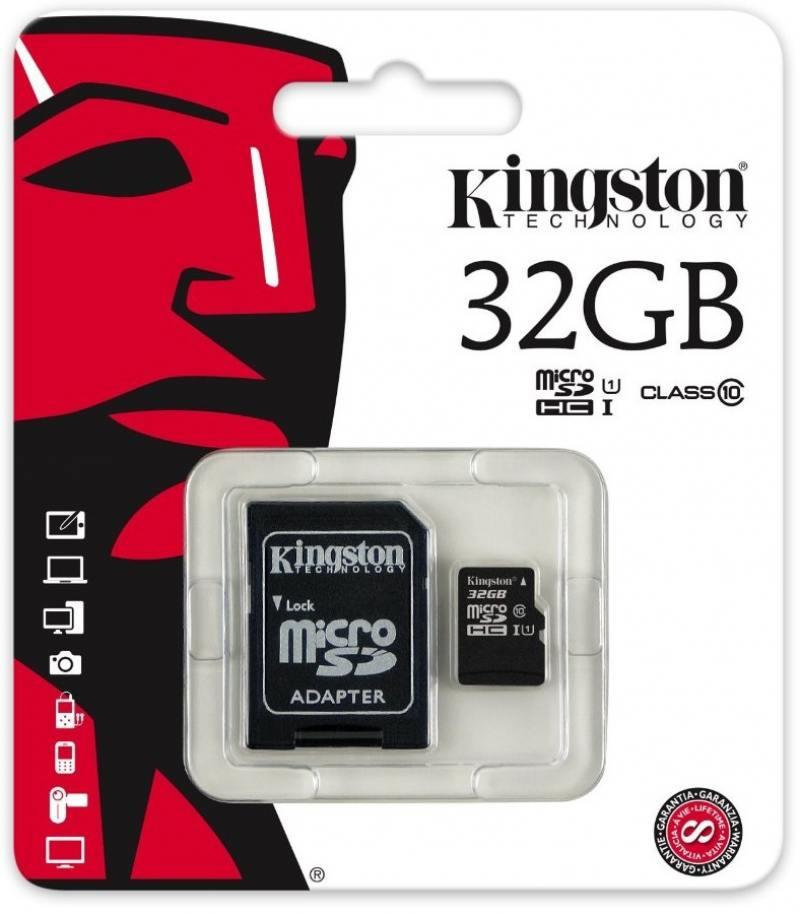 MicroSDHC Kingston 32GB Class10 + Адаптер (SDCIT/32GB0