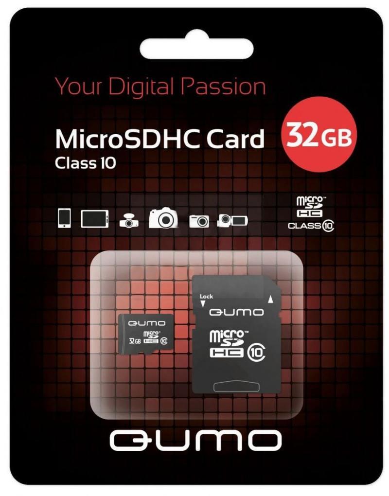MicroSDHC QUMO 32Gb Class10 + Адаптер (QM32MICSDHC10) smart buy microsdhc 32gb class10