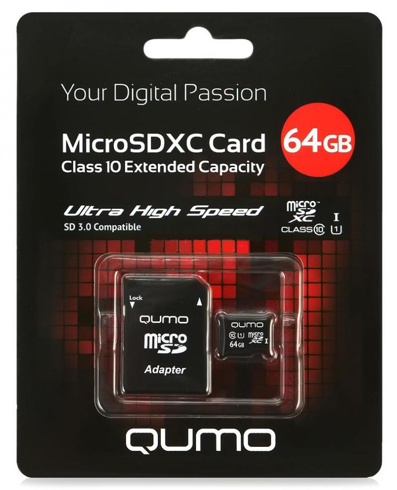 MicroSDXC QUMO 64Gb Сlass10 UHS-I + Адаптер (QM64GMICSDXC10U1)