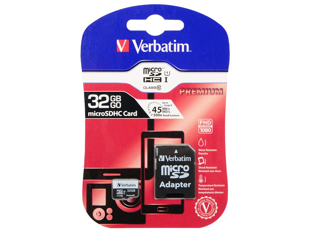 Карта памяти MicroSDHC Verbatim 32GB Class10 + Адаптер (44083)