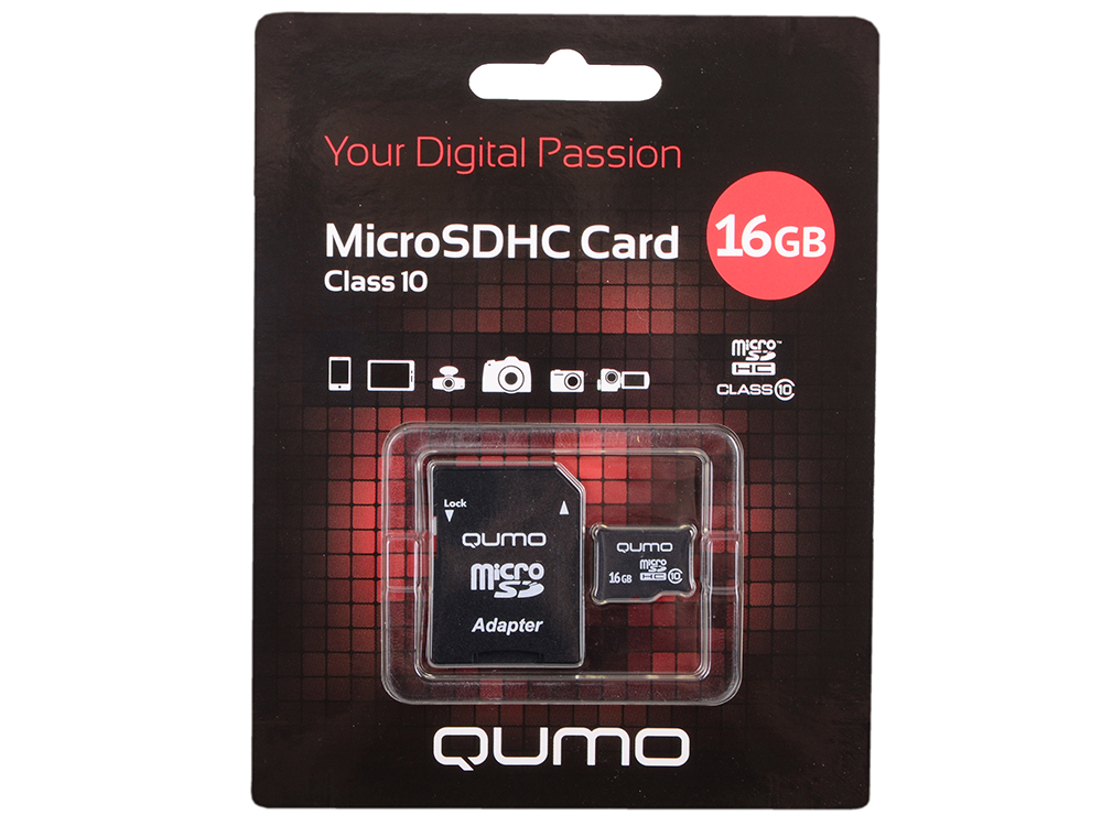 MicroSDHC QUMO 16Gb Class10 + Адаптер (QM16MICSDHC10). Производитель: QUMO, артикул: 0456566