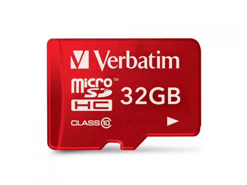 Карта памяти Micro SDHC 32GB Class 10 Verbatim 44044 + адаптер красный карта памяти sdhc micro verbatim 32gb 44044