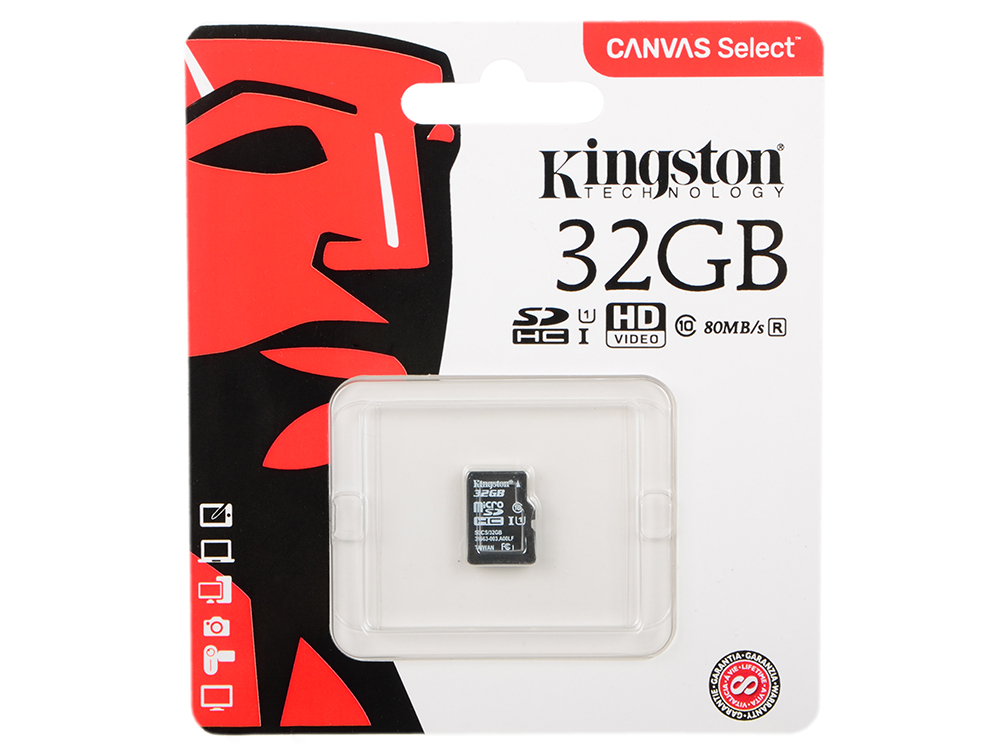 Карта памяти MicroSDHC 32GB Kingston Canvas Select 80R CL10 UHS-ISP без адаптера (SDCS/32GBSP) карта памяти kingston sdc10 16gbsp