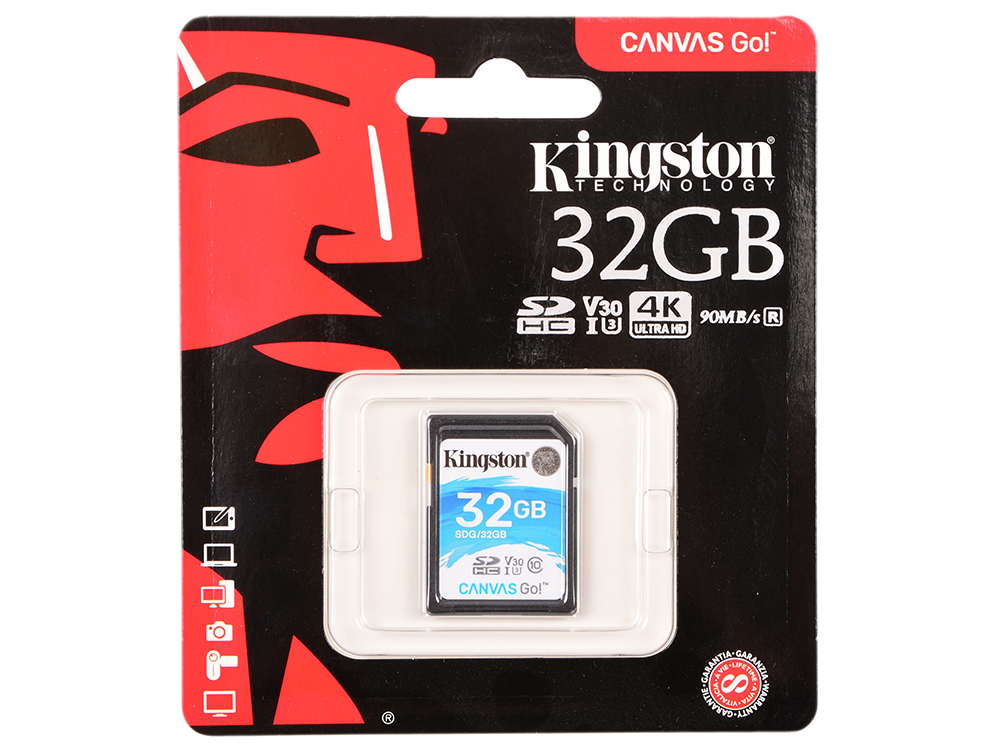 Карта памяти SDHC 32GB Class 10 Kingston SDG/32GB