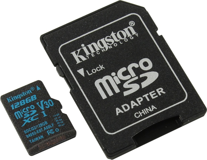 Карта памяти microSDXC 128Gb Class10 Kingston SDCG2/128GB Canvas Go + adapter